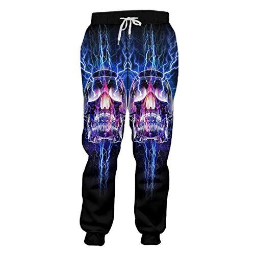BAITE ONE Frühling Herbst Casual Sweat Pants Herren Print Flash Light Skull 3D Jogginghose Flash Light Skull S