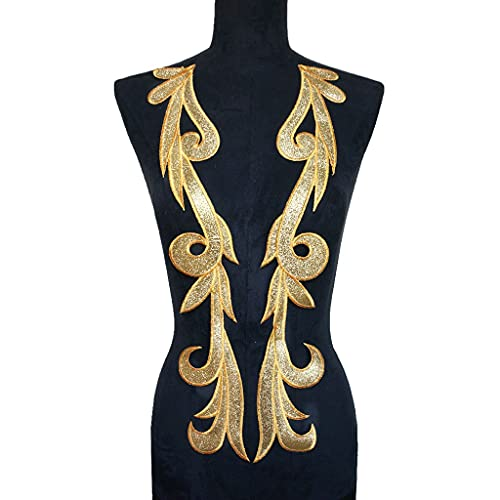 ZYING Gold Pulver Kleid Appliques Stoff Kragen Näheisen auf Patches Noble Stickerei Für Hochzeit Dekoration Kleid DIY