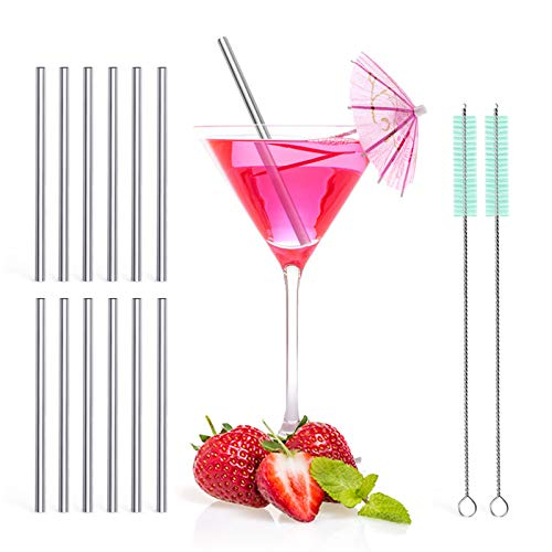 Teivio 12 Pack + Cleaning Brush, 5-inch Extra Short Reusable Stainless Steel Drink Straws for Cocktails, Small Glasses or Cups (Silver)