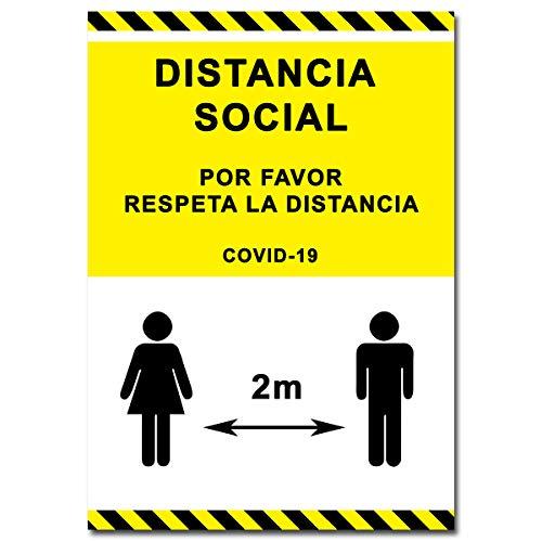Señalización Coronavirus | Cartel Distancia Social 1,5 metros para empresas, oficinas o lugares públicos | Señal COVID-19 Autoinstalable | 21 x 30 cm | Descuentos por Cantidad