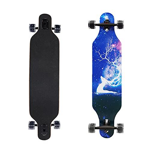 Komplettes Skateboard, Skateboard, Cruiser, sowie blinkende Rollen aus PU, Skateboard, komplett aus kanadischem Ahornholz, schwarz für Anfänger, Erwachsene, Jugendliche, Mädchen, Jungen