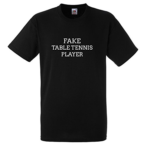 Fake Table Tennis Player Funny Gift T Shirt Small Black Tee with White Print