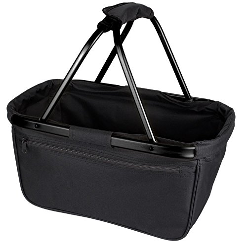 noorsk Einkaufskorb faltbar aus Stoff toll als Faltkorb Einkaufstasche oder Picknickkorb - Schwarz/Schwarz