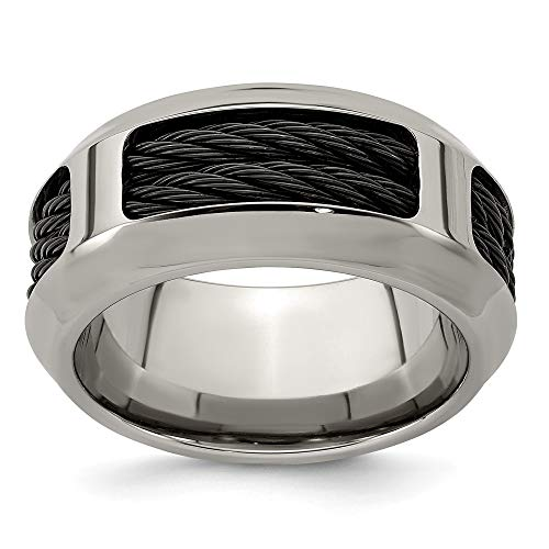 ICE CARATS Edward Mirell Stainless Steel Black Titanium Cable 10.75mm Wedding Ring Band Size 11.00 Man Fancy Fashion Jewelry for Dad Mens Gifts for Him