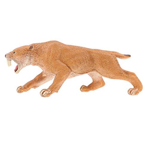 Toygogo Plastica Realistica Della Fauna Selvatica Giungla Foresta Animali Tigre Dai Denti A Sciabola Action Figure Giocattoli Set Da Gioco, Giocattoli