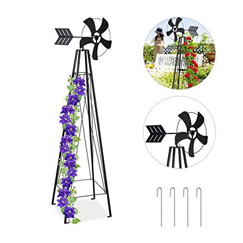 Relaxdays Rankhilfe mit Windrad, Kletterhilfe für Rosen und Kletterpflanzen, mit Erdanker, Stahl, 184 cm hoch, schwarz
