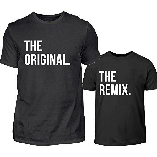 Vater Sohn Partner Look The Original The Remix Rundhals Tshirt Eltern Kind Partnerlook Für Herren Und Sohn Oder Tochter In Schwarz (L & 3/4 (98/104))