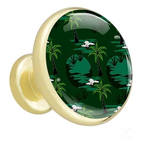Perillas de gabinete de oro Palmera verde El cajón tira de las perillas de estantería redonda de metal para niños (4 piezas) 3.2x3x1.7cm