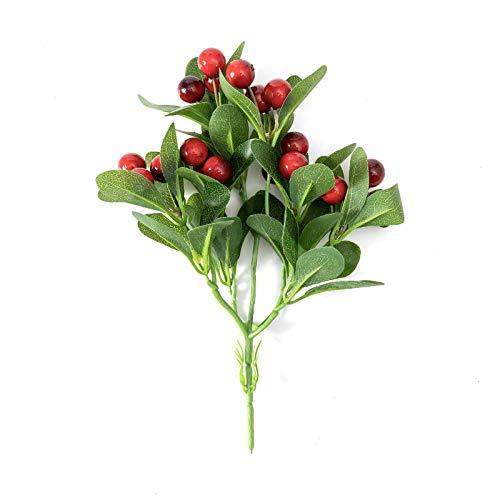 Annfly Plantas artificiales de hojas artificiales, plantas de plástico incoloras, decoración del hogar, 3 paquetes (fruta roja cereza), 30 cm