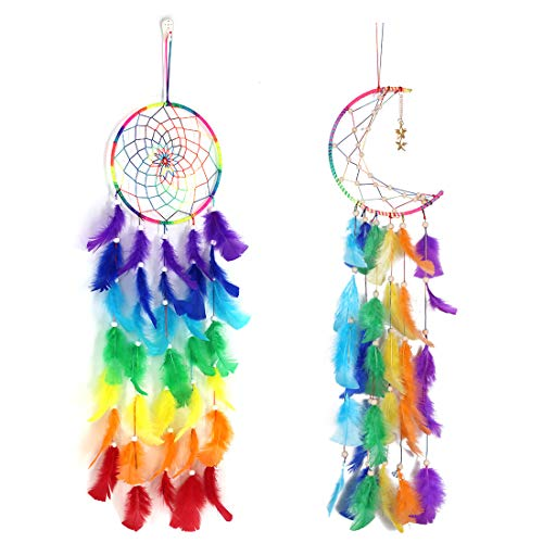 TOXOT 2 Pieces Colorful Dream Catchers Handmade Feather Dreamcatchers Bohemian Dream Catcher for Girls, Kids, Nursery, Bedroom Wall Hanging Decoration