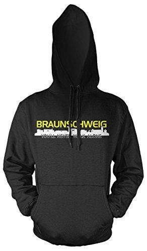Braunschweig Skyline Männer und Herren Kapuzenpullover | Fussball Ultras Geschenk (4XL, Schwarz)