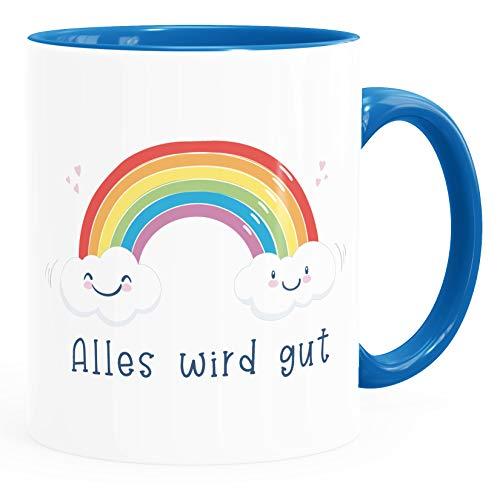 Moonworks® Kaffee-Tasse Regenbogen Alles wird gut Geschenk Mut machen durchhalten positiver Spruch inner-blau Keramik-Tasse