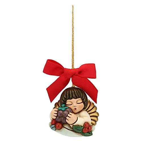 THUN - Addobbo Angelo per Albero di Natale - Formato Piccolo - Ceramica - Linea Preludio d'inverno - 5x5x3,5 cm