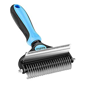 MalsiPree Pet Grooming Brush, 2 in 1 Deshedding Tool & Undercoat Rake Dematting Comb for Mats & Tangles Removing, Reduces Shedding by up to 95%, Great for Short to Long Hair Medium Large Dogs