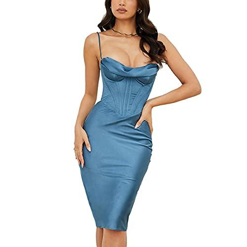 Vestido para mujer, con tirantes de espagueti, de satén sedoso, sin espalda, elegante, vestido de fiesta de noche, corsés, azul, M
