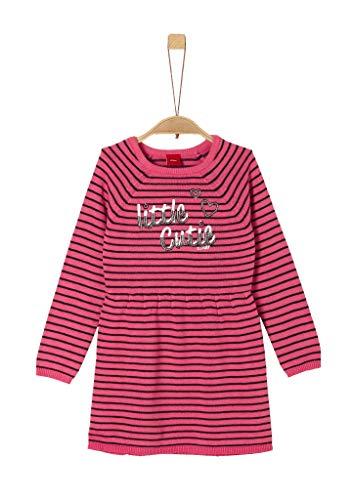 s.Oliver Mädchen 58.909.82.2984 Kleid, Rosa (Pink Knitted Stripes 45g0), (Herstellergröße: 98/REG)