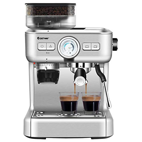 COSTWAY Semi-Automatic Espresso Machine, 20 Bar Pump, Built-In Milk Frother and Steamer, 10s Preheating, PID Temperature Control, 2L Removable water tank, Drip Tray, Grinder with 30 Settings, Stainless Steel Pressure Coffee Brewer, Countertop Cappuccino Maker for Home, Office