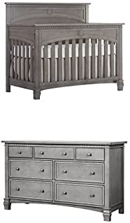 Evolur Santa Fe 5-in-1 Convertible Crib, Storm Grey with Double Dresser