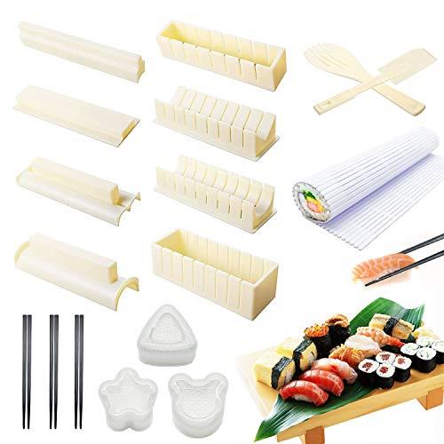 Sushi Making Kit for Beginners15 Pcs Plastic Sushi Maker Tool Including 8 Sushi Mold Shapes Fork Spatula1 Sushi Rolling Mat 3 Shape Sushi Press Mold 3 Chopsticks DIY Sushi Making Kits White