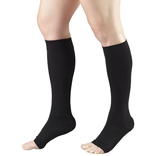 Truform Short Length 20-30 mmHg Compression Stocking for Men and Women, Reduced Length, Open Toe, Black, Medium (1 Pair) (20-30 mmHg)