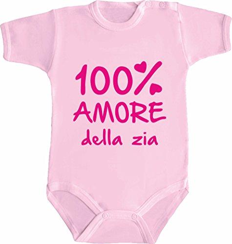 bemode Body Neonato Frasi Divertenti 100% Amore della Zia (3 Mesi, Rosa)