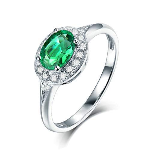 Beydodo Anillo Mujer 18K,Anillos Mujer Oro Blanco 18 Kilates Plata Verde Oval Esmeralda Verde 0.74ct Diamante 0.18ct Talla 23,5(Circuferencia 63MM)