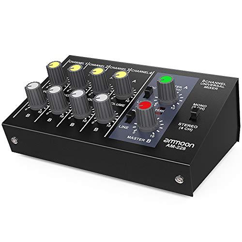 Mixer, ammoon Metallschalenmischer, Rauscharmer Mono-Stereo-Audiomischer mit 8 Eingängen und 4 Ausgängen und Netzkabel