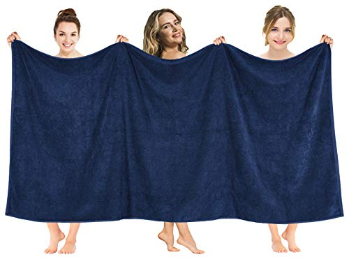 American Soft Linen 40x80 Inches Premium, Soft & Luxury 100% Ringspun Genuine Cotton 650 GSM Extra Large Jumbo Turkish Bath Towel for Maximum Softness & Absorbent [Worth $64.99] Navy Blue