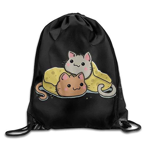 FLYBAI-CASE Mochila unisex Purrito Kitty Burrito Print Drawstring Backpack Gym Bag