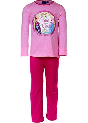 Frozen - Die Eiskönigin Pyjama Mädchen Schlafanzug Nachtwäsche Lang (u) (104 (4 Jahre), Rosa)