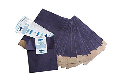 """25 kleine blaue Geschenktüten; Papiertüten (13 x 18 cm) mit beschreibbarem Aufkleber""""3 blaue Fische""""; für Taufe, Kommunion, Konfirmation, Hochzeit uvm."""