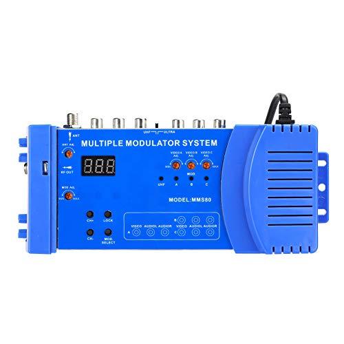 Dilwe Modulador de RF MMS80, modulador de modulación múltiple, convertidor de Audio y Video, TV, Amplificador de señal UHF para receptores de satélite, cámaras de Video, Consolas de Juegos