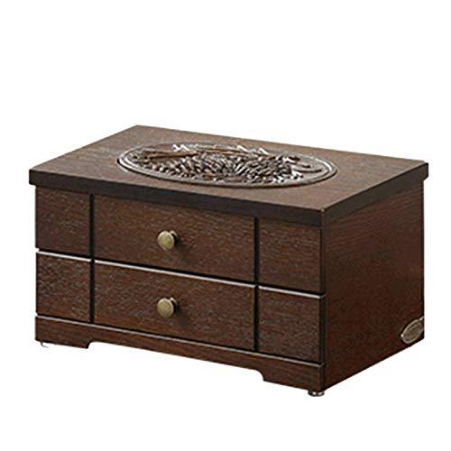 WYFDC Joyería-caja de joyería de madera de doble capa caja de joyería bolsa de maquillaje pendiente regalos de boda