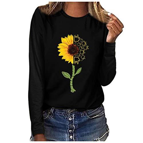 Shinehua oversized zonnebloem t-shirts dames lange mouwen shirts ronde hals top top casual T-shirt trui sweatshirt tuniek tops shirts grote maten T-shirt blouse