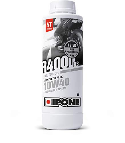 IPONE 800028 IPONE-R4000 RS-Huile Moto 4 Temps 10W40 Synthetic Plus-Lubrifiant Semi-Synthétique avec Esters-Haute Qualité-Résistance Exceptionnelle à l'usure et Protection du Moteur-Bidon 1 Litre, 1L