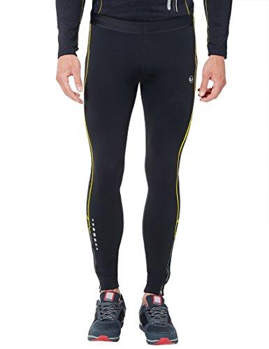 Ultrasport Pantaloni Jogging per Uomo Thermo-Dynamic Imbottiti con Funzione Quick Dry, Nero/Giallo, S