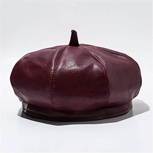 QFWM Boinas de mujer para mujer, sombrero de Newsboy, gorra de hiedra, de piel sintética, multicolor, opcional, boina francesa para niñas y mujeres (color: rojo, tamaño: mediano)