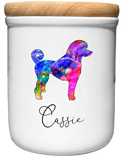 Cadouri Keramik Leckerli-Dose PUDEL » personalisiert mit Name deines Hundes «┊Snackdose Keksdose Aufbewahrungsdose┊mit Holzdeckel