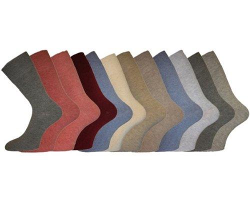 i-Smalls Damen Baumwolle, uni lose breit Top Casual Socken nicht elastisch, 3Paar Pack Gr. 37-39, Melange