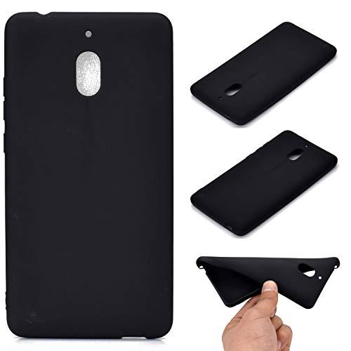 LeviDo Cover Compatibile per Nokia 2.1 2018 Silicone Gomma Colori Caramella Case Antiurto Sottile Bumper TPU Gel Anticaduta Protettiva, Nero
