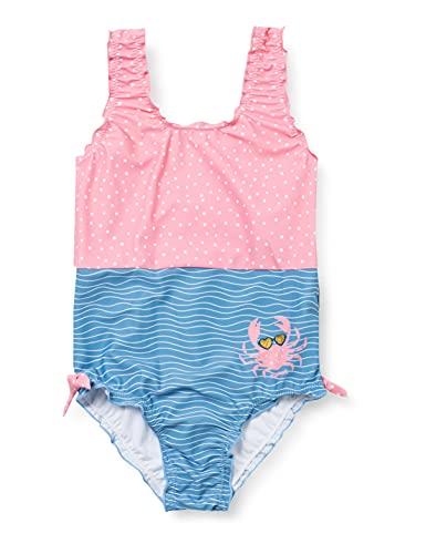 Playshoes Mädchen Krebs Badeanzug, blau/pink, 110/116