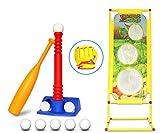 T-Ball Set for Toddlers, Kids, Softball Baseball Toy Batting Tee Ball Game Includes 8 Balls, Bat,...