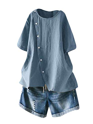 Mallimoda Damen Leinen Bluse Tunika Sommer Kurzarm T-Shirt Elegant Oberteil Grau Blau M