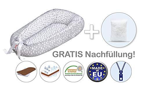 Scamp Premium - Nido para bebés (antialérgico, 100% algodón, certificado Öko-Tex 100 Standard, con colchón de coco) gris Little clouds white grey