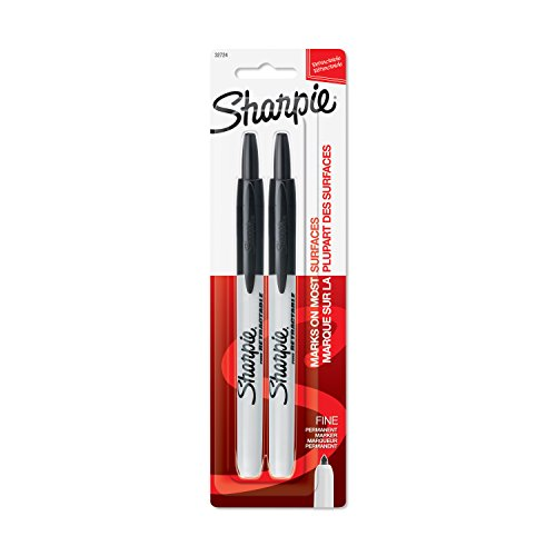 Sharpie Retractable Permanent Markers, Fine Point, Black, 2 Count - 32724PP