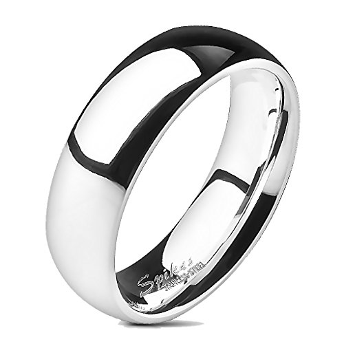 Anello in acciaio inossidabile argentato, lucidato a specchio, 6 mm, misura da 19 a 29, unisex e Acciaio inossidabile, 9, cod. R001-6-05