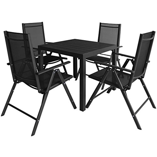 vidaXL Outdoor Dining Set Table and Folding Chairs 5 Piece Polywood WPC Patio