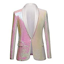 Pink Color Conversion Shiny Sequins Blazer