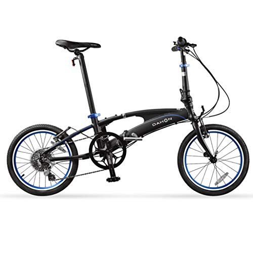Gq2019 Bicycle Folding Bicycle Unisex 18 Inch Wheel Set 8-Speed Variable Speed Ultra-Light Aluminum Alloy Bicycle (Color : Black, Size : 14933107CM)