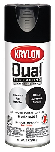 Price comparison product image Krylon K08801007 'Dual' Superbond Paint and Primer,  Gloss Black,  12 Ounce